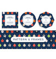 sport christmas seamless pattern and frame vector image