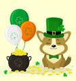 stpatrick s day cute corgi dog in green hat vector image
