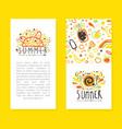 summer card templates set poster invitation vector image vector image