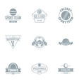 tennis sport logo set simple style vector image vector image