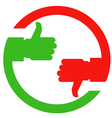 Thumb up and thumb down hands - vote or choice vector image vector image