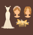 wedding bride dress accessory celebration vector image vector image