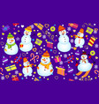 winter pattern with snowmen snowflakes and gifts vector image vector image