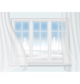 winter window with curtains vector image vector image