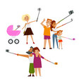 young mother couple and family all making selfie vector image