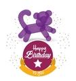 cute balloon cat happy birthday confetti ribbon vector image