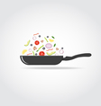Pan with colorful vegetables vector image