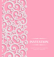 3d Pink Vintage Invitation Card with Floral vector image vector image