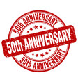 50th anniversary red grunge stamp vector image vector image