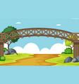 a wooden bridge scene vector image vector image