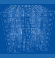 abstract boxes outlined rendering of 3d vector image vector image