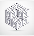 abstract geometric isometric black and white vector image vector image