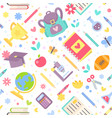 back to school seamless pattern with cartoon vector image vector image