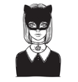 Beautiful Cat Woman with the Carnival mask Gothic vector image vector image
