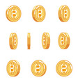 bitcoin rotation animation coin technology digital vector image vector image