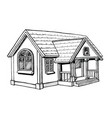 black and white sketch of a cottage vector image vector image