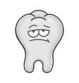 bored unhappy cute tooth cartoon vector image vector image