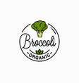 broccoli vegetable logo round linear vector image vector image