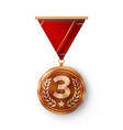 bronze medal metal realistic third vector image vector image