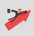 businessman flies on a growing arrow success vector image vector image