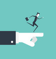 businessman running on boss hand vector image vector image