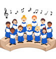 choir girls and boys singing a song vector image vector image