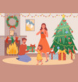 christmas evening at home father gives daughter a vector image