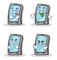collection set smartphone cartoon character vector image vector image