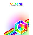 colorful document template with lines and vector image