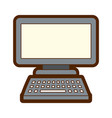 computer monitor with keyboard technology gadget vector image vector image