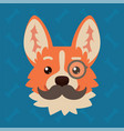 corgi dog emotional head with monocle and vector image vector image