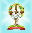 easter sunday cross with flowers greeting card vector image vector image
