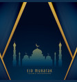eid greeting design with mosque shape vector image vector image