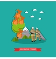 fire in the forest in flat vector image vector image