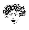 girl with rose wreath modern brush vector image