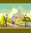 happy couple walking in park vector image vector image