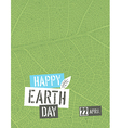 Happy Earth Day Poster template with free space vector image vector image