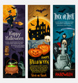 happy halloween banner with ghost and pumpkin vector image vector image