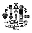 hard cash icons set simple style vector image