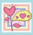 hearts and chat bubble with love message and vector image