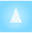 Holiday card with white Christmas tree on blue vector image vector image