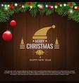 horizontal christmas border frame with fir vector image