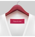 Jacket with label hanging on a hanger vector image vector image