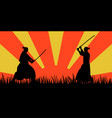 japanese samurai warriors silhouette with katana vector image