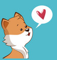 lovely fox with heart bubble speech vector image