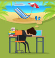 man thinking about beach vacation vector image vector image