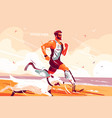 man with prosthetic legs running on seashore vector image vector image