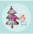 merry christmas and bird vector image