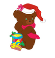 new years bear with gifts vector image vector image