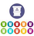 plastic office waste bin icons set flat vector image vector image